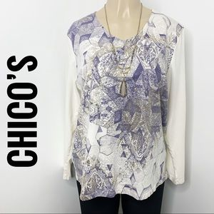 CHICO'S Purple & Gold Foil V-Neck Long Sleeve Top